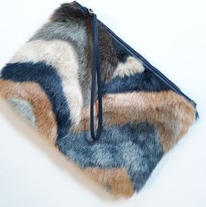 Street Level Faux Fur Wristlet Clutch Purse